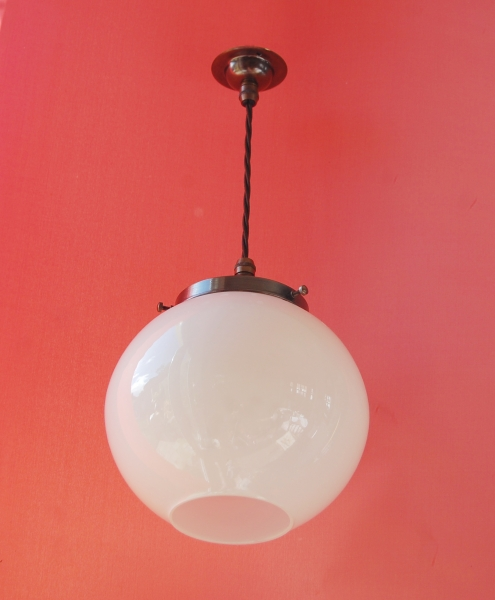 Duplex Opal Globe Pendant Lamp With Antique Finish Fitting