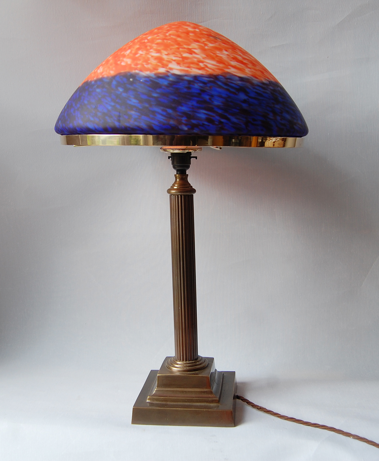 The Trafalgar Table Lamp In Antique Finish With Blue