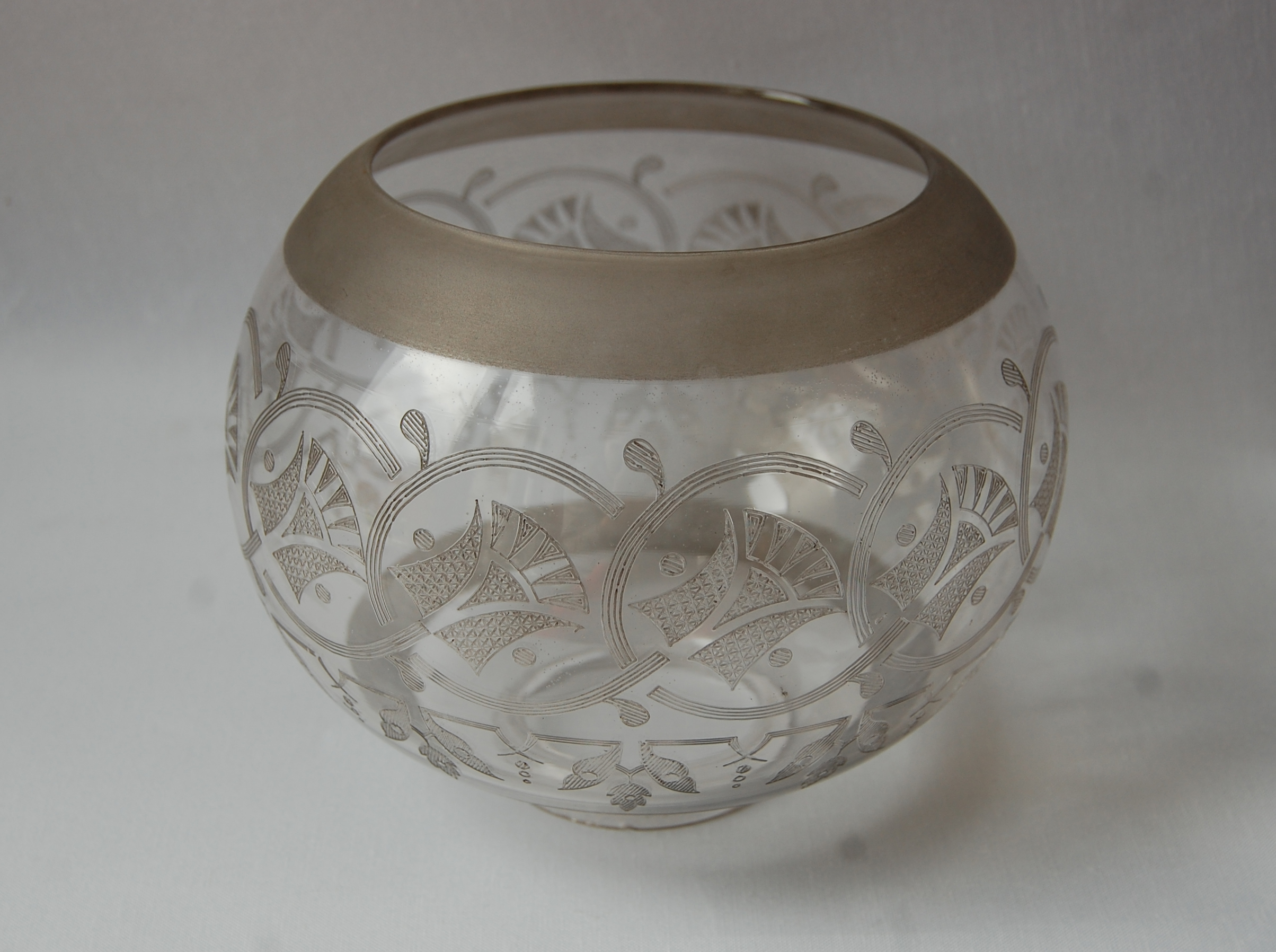 Antique gas etched glass shade no 51 A