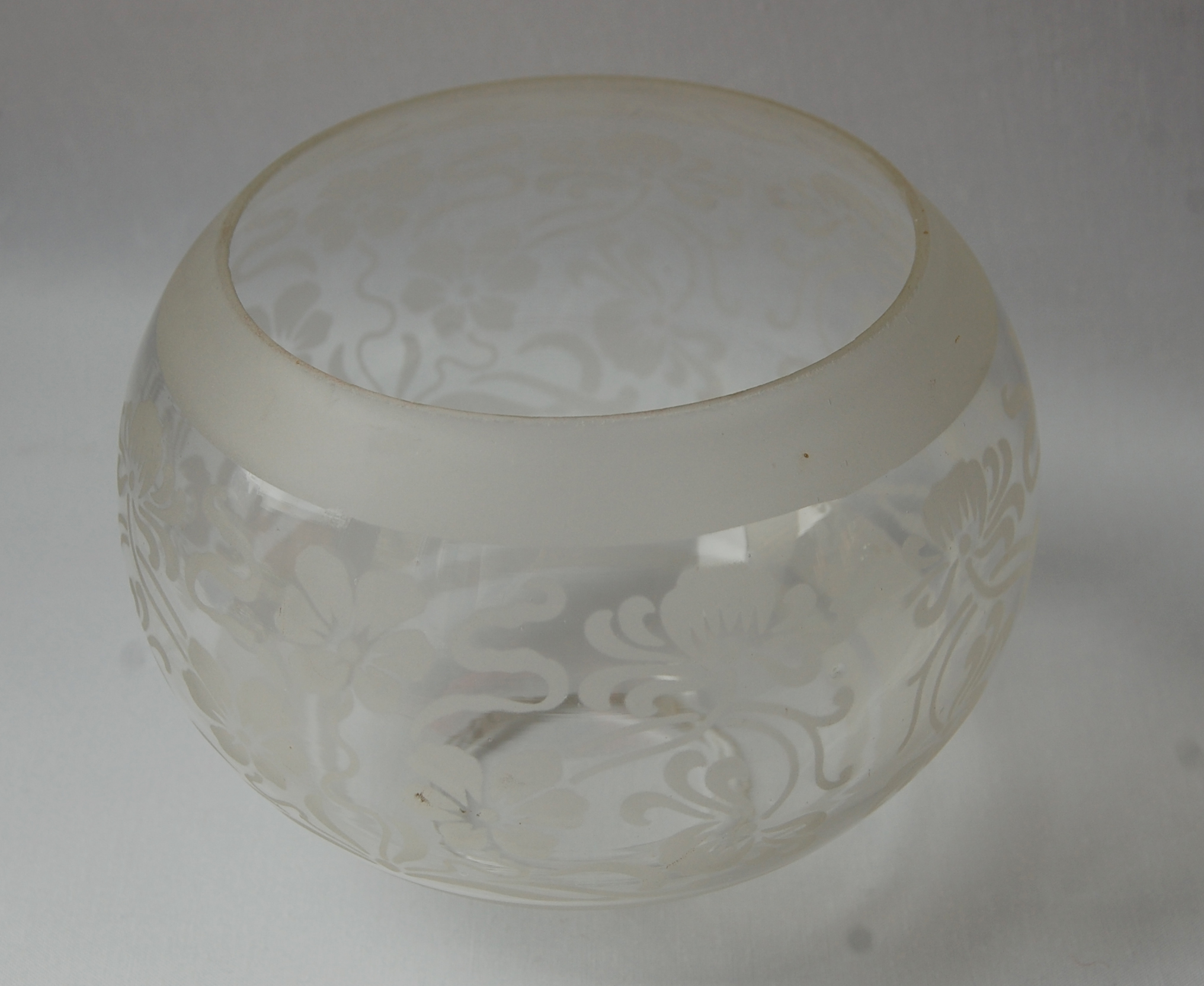 Antique etched glass gas shade no 52A