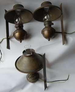 Pair of double arm and pair of single arm antique wall lamps no.16