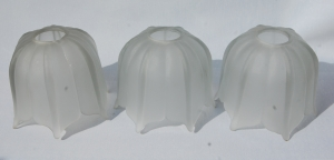 Set of seven heavy frosted-glass antique glass shade no.6 A