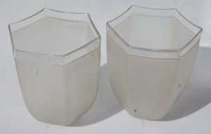Pair of sis-sided frosted-glass antique shades no.61