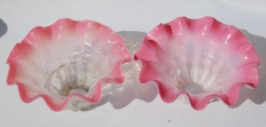 Two antique Vaseline pink- glass shades no.42A
