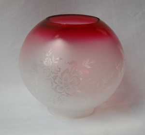 Etched glass oil lamp globe no.23