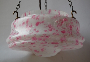 End of day glass hanging bowl lamp with antique finish fitting no. 21