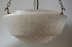 End of day glass hanging bowl lamp with antique finish fitting no.41