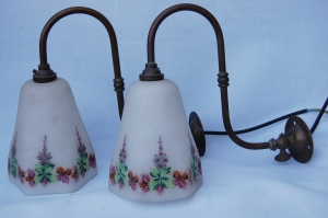 Pair of antique wall lamps no